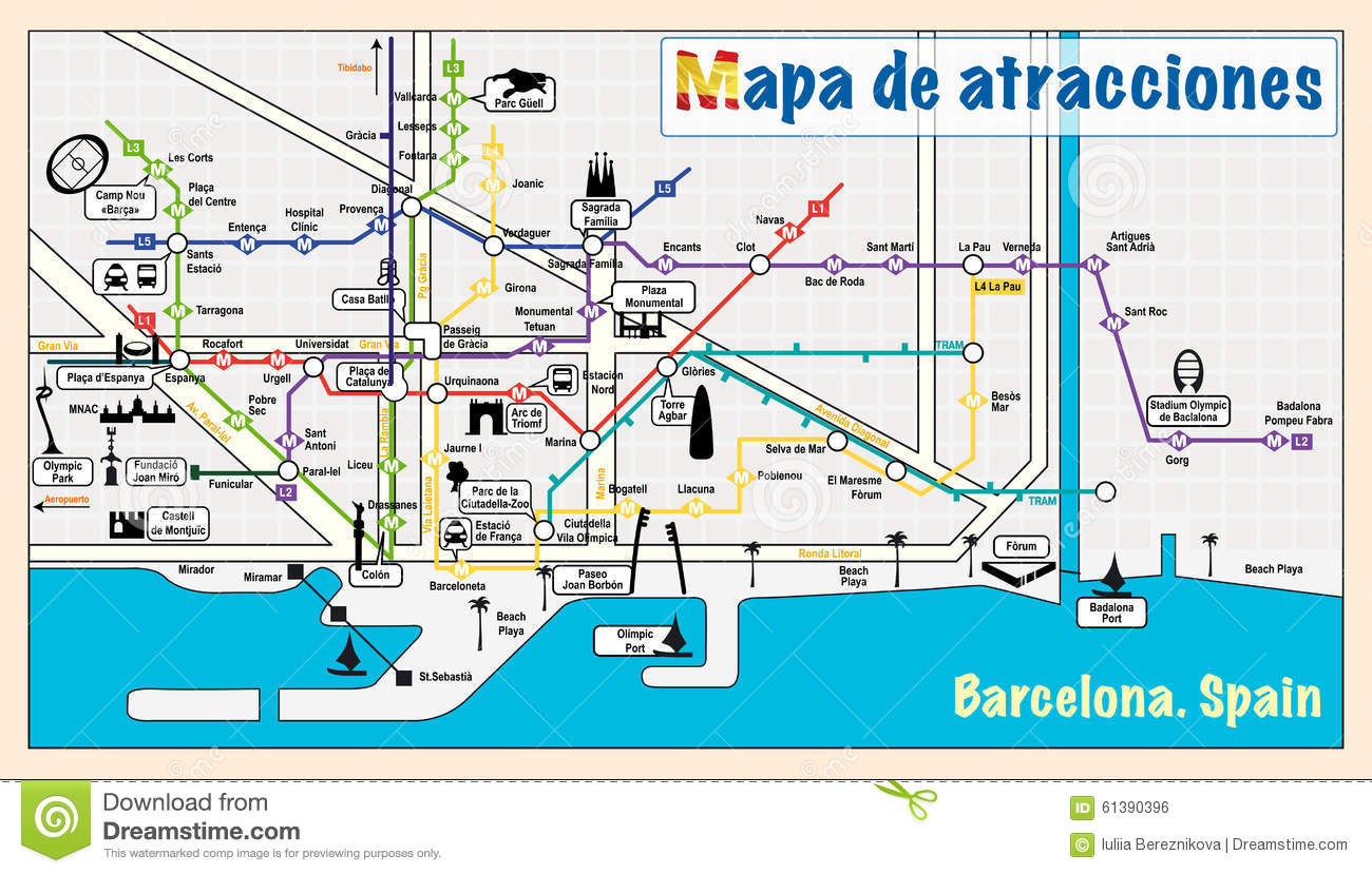 Subway Map Of Barcelona Spain.Welcome To Barcelona Attractions On Map Stock Vector
