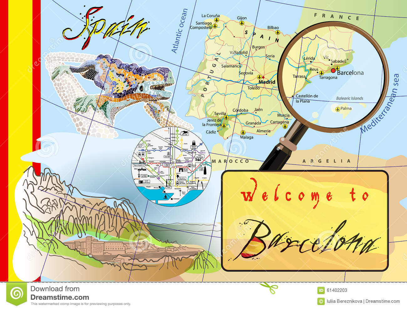Welcome To Barcelona. Attractions On Map. Stock Vector ...