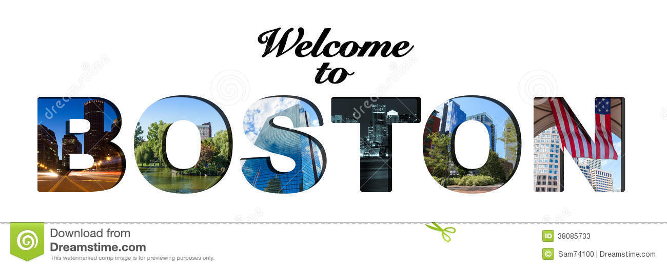 Welcome To Boston Text And Photo Collage Stock Photos