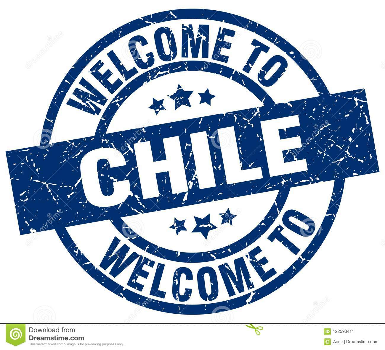 Welcome To Chile Round Grunge Stamp Isolated On White Background