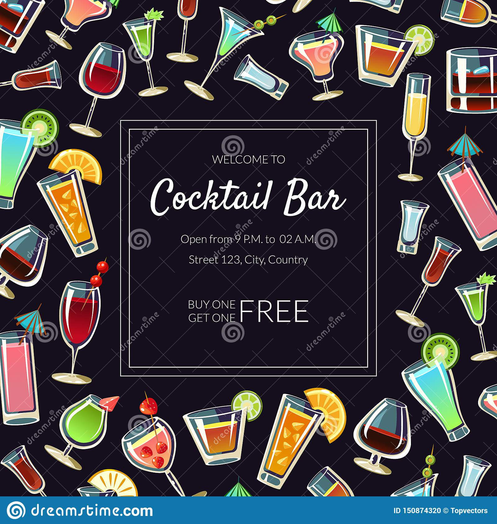 Welcome To Cocktail Bar Banner Template Alcoholic Beverages