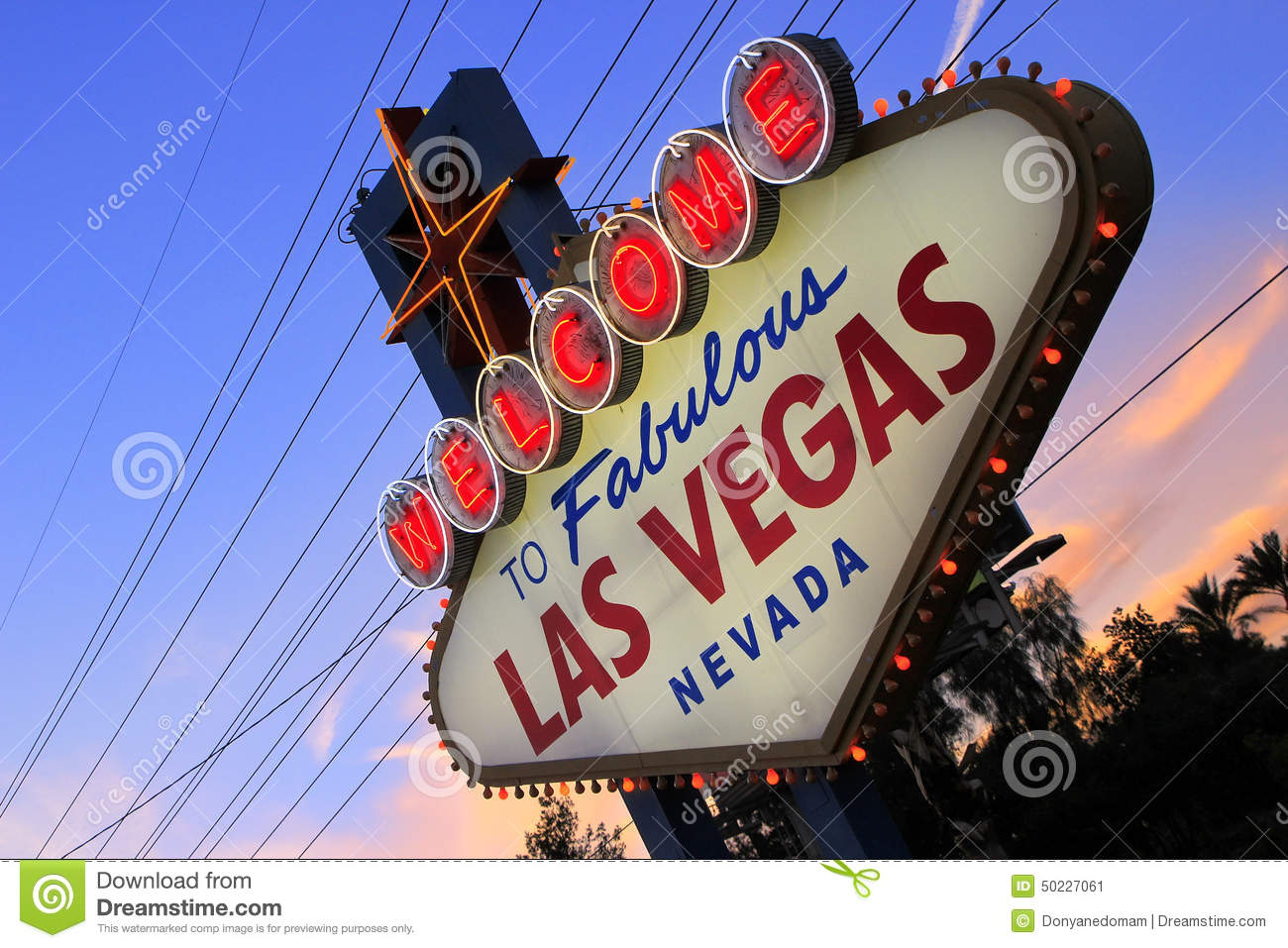 welcome to fabulous las vegas sign at night nevada editorial photo image 50227061. Black Bedroom Furniture Sets. Home Design Ideas