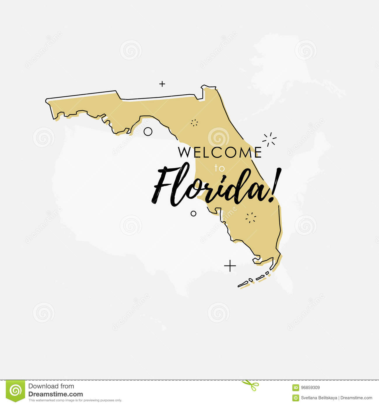 Florida Tornado Map.Welcome To Florida State Map Stock Illustration Illustration Of