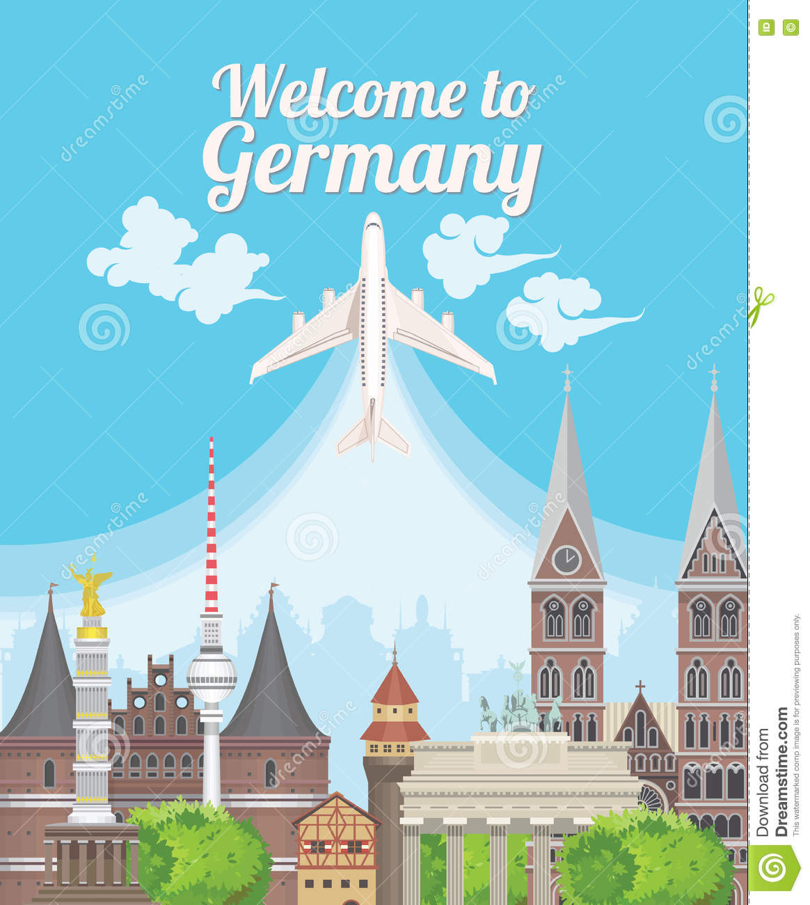 I Want To Visit Germany In German: Welcome To Germany. Travel German Landmarks. Stock Vector