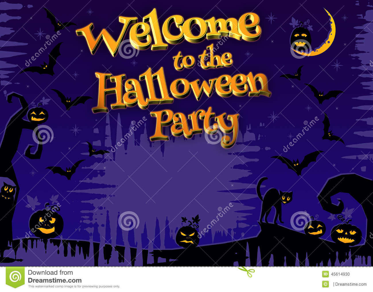 Welcome to the halloween party 3d stock illustration for Where to have a halloween party