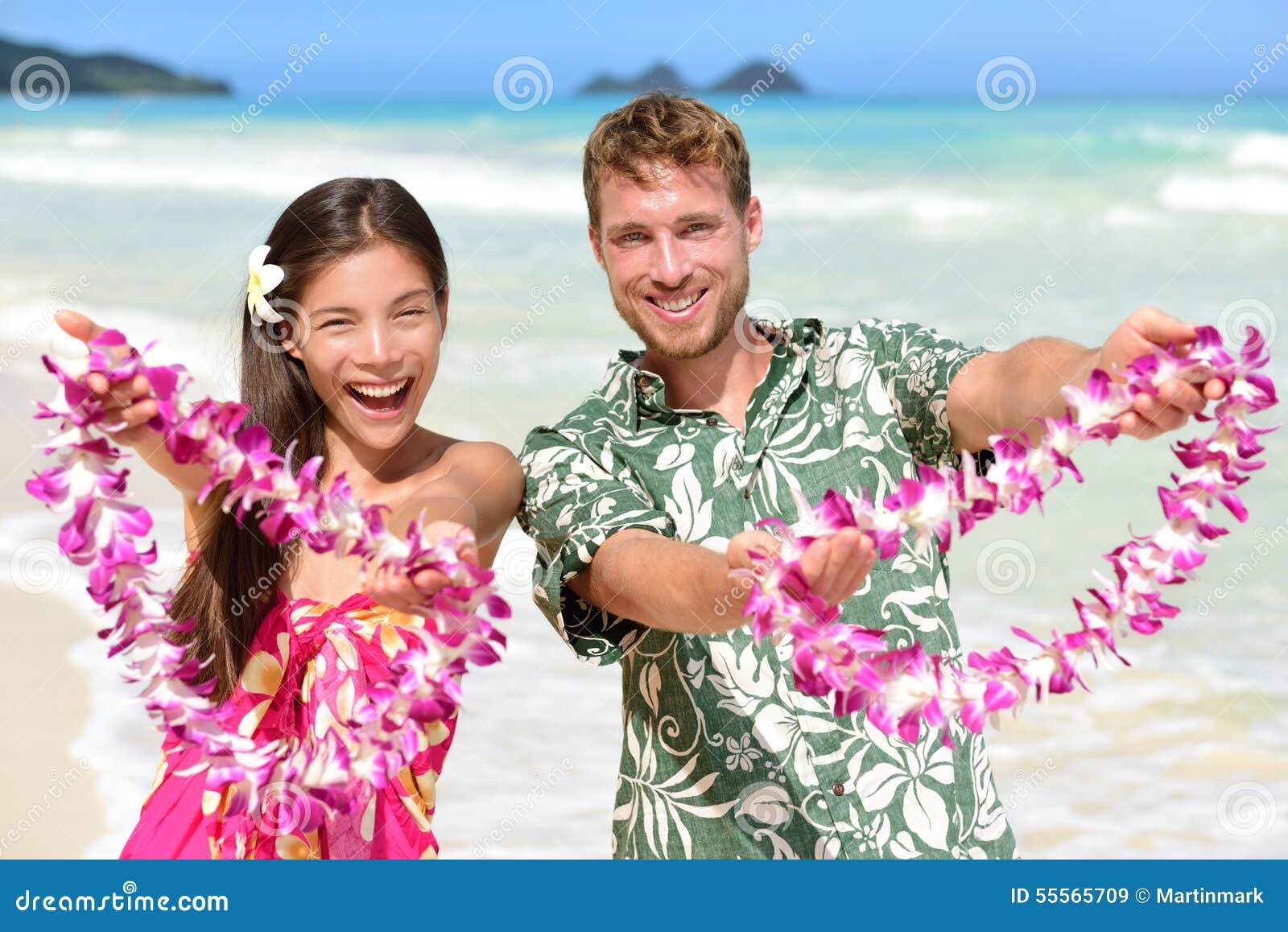 Welcome To Hawaii Hawaiian People Showing Lei Stock Image Image