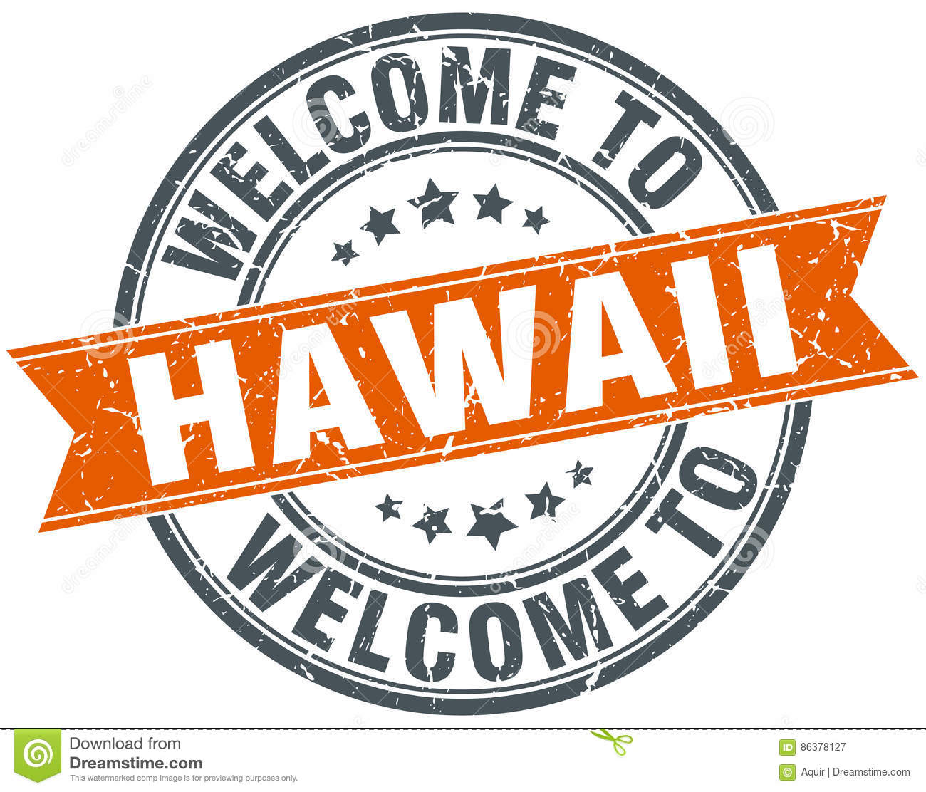 Welcome To Hawaii Orange Ribbon Stamp