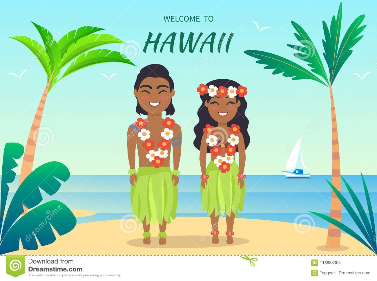 Welcome to hawaii poster on vector illustration stock vector welcome to hawaii poster hawaiian people greeting tourists man and woman dressed in leaves and luau made up of flowers on vector illustration m4hsunfo