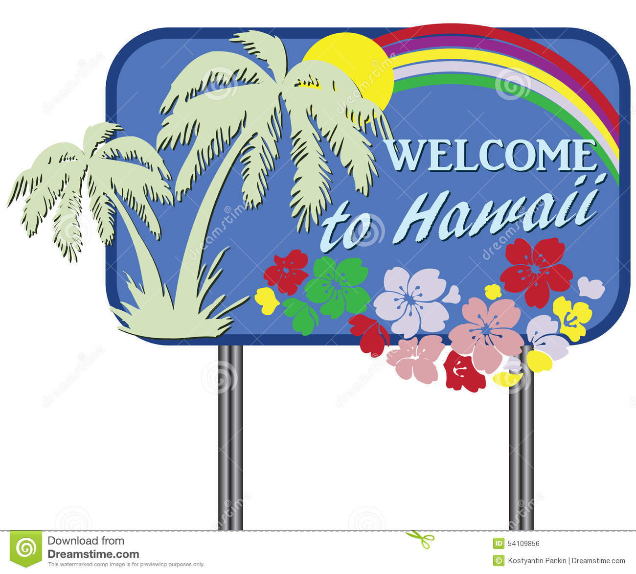 Stylized road sign Welcome to Hawaii. Vector illustration.