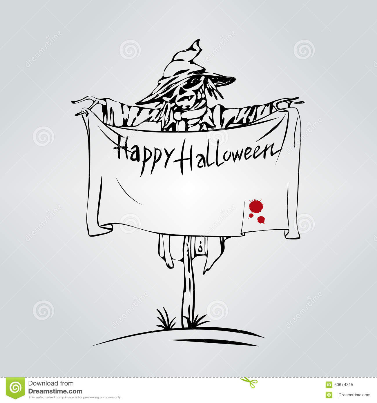 Welcome To Holiday. Halloween Scarecrow. Stock Vector - Illustration ...