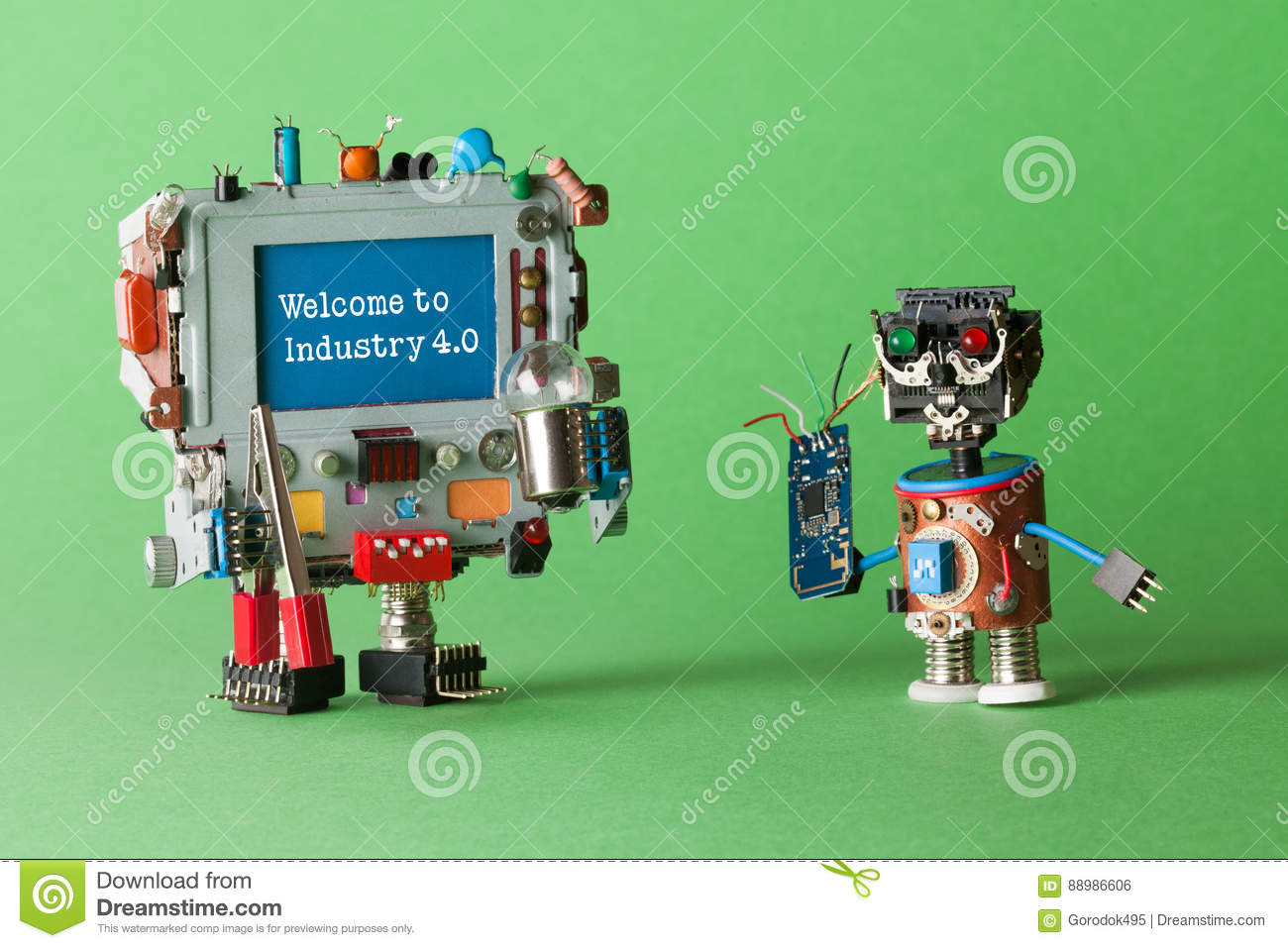Welcome to Industry 4 0 robotic cyber systems, smart technology and automation process. Abstract electronic toy with