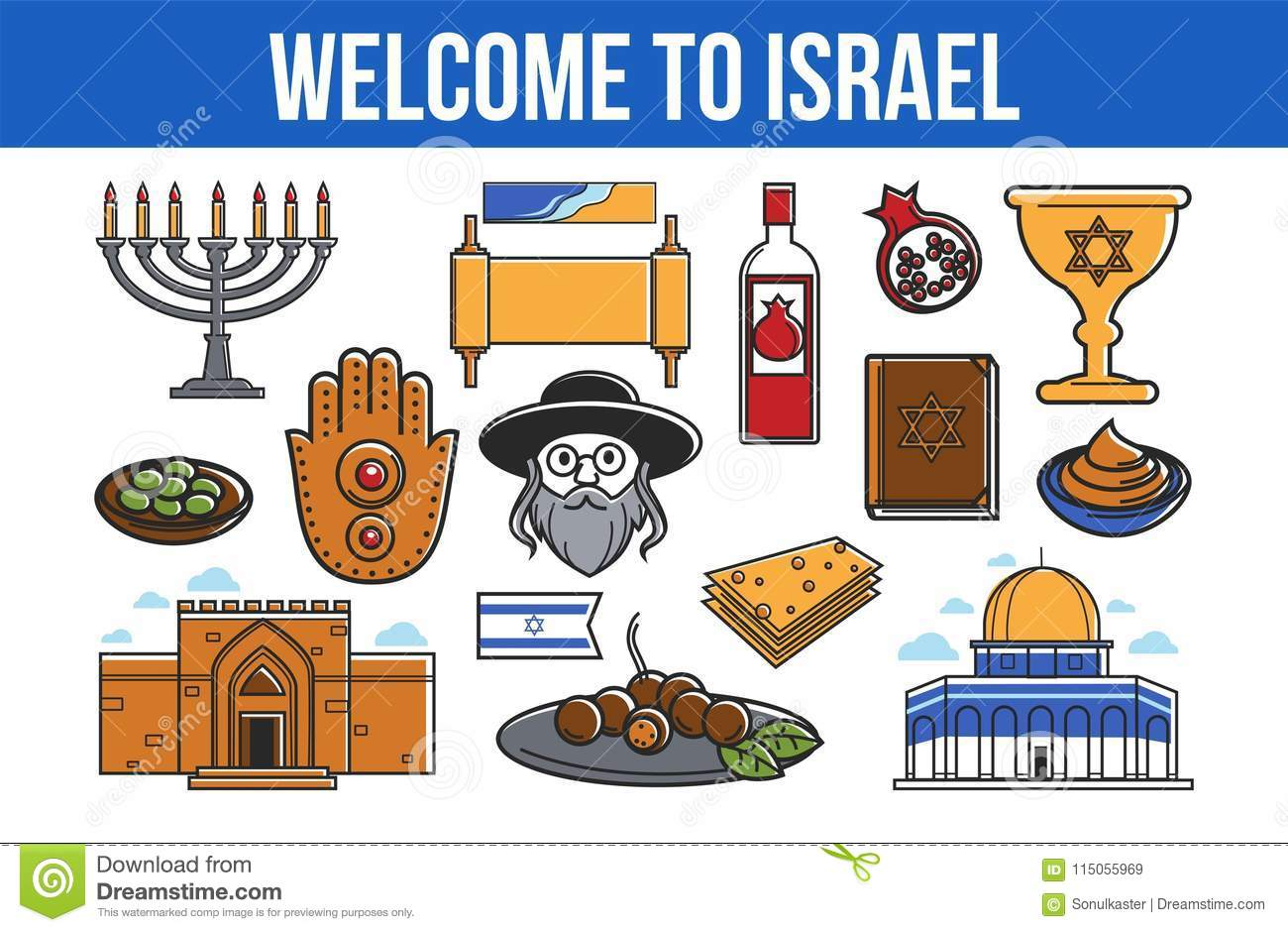 Welcome To Israel Promo Banner With National Symbols Stock Vector