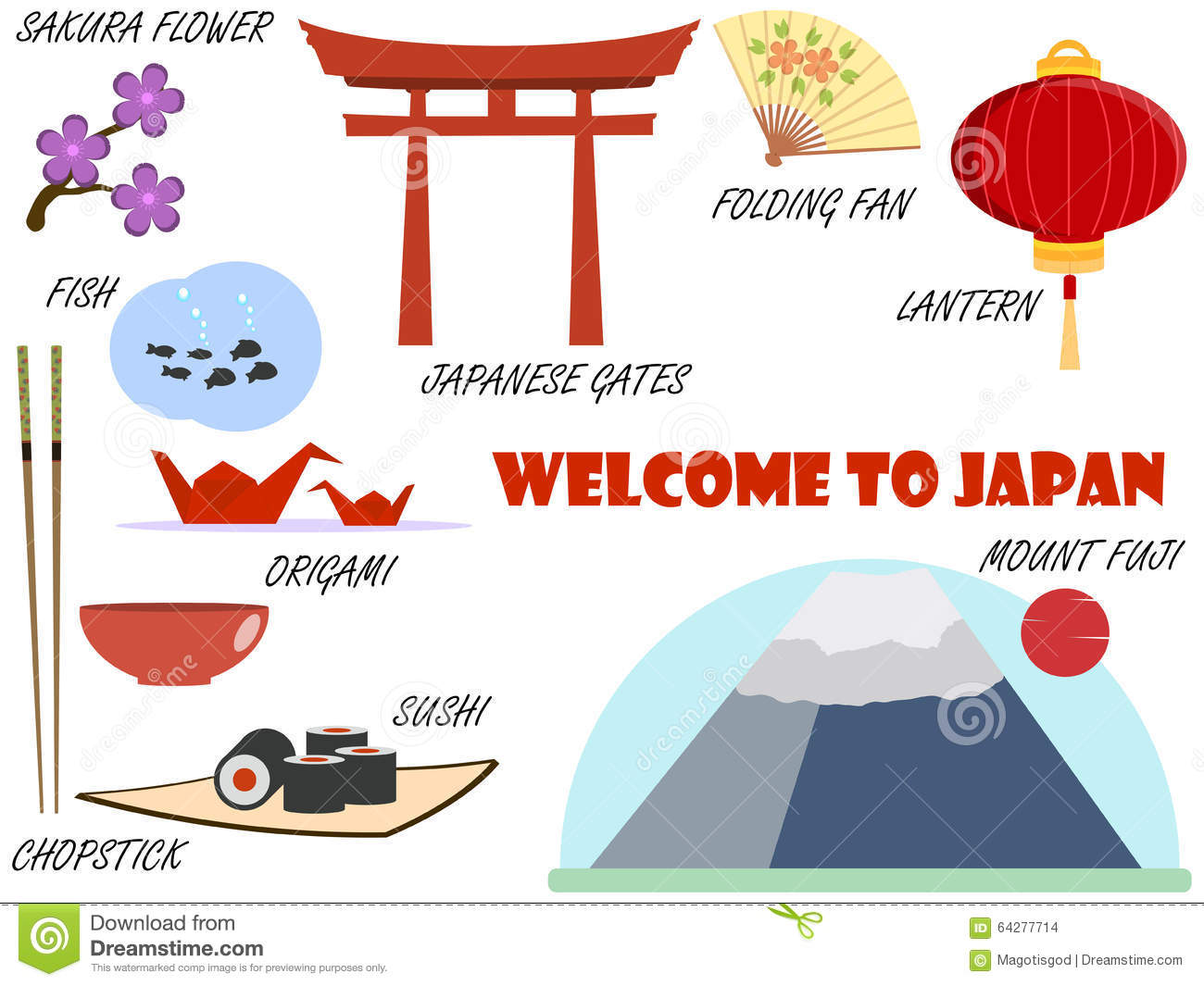 Welcome to japan symbols of japan set of icons vector stock welcome to japan symbols of japan set of icons vector biocorpaavc Gallery