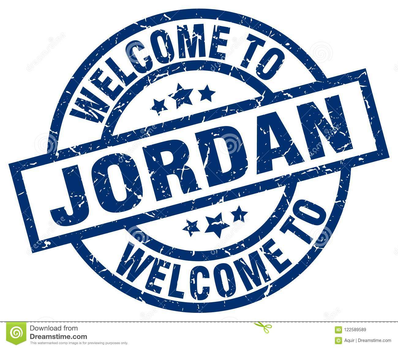 Welcome To Jordan Stamp Stock Vector Illustration Of Isolated