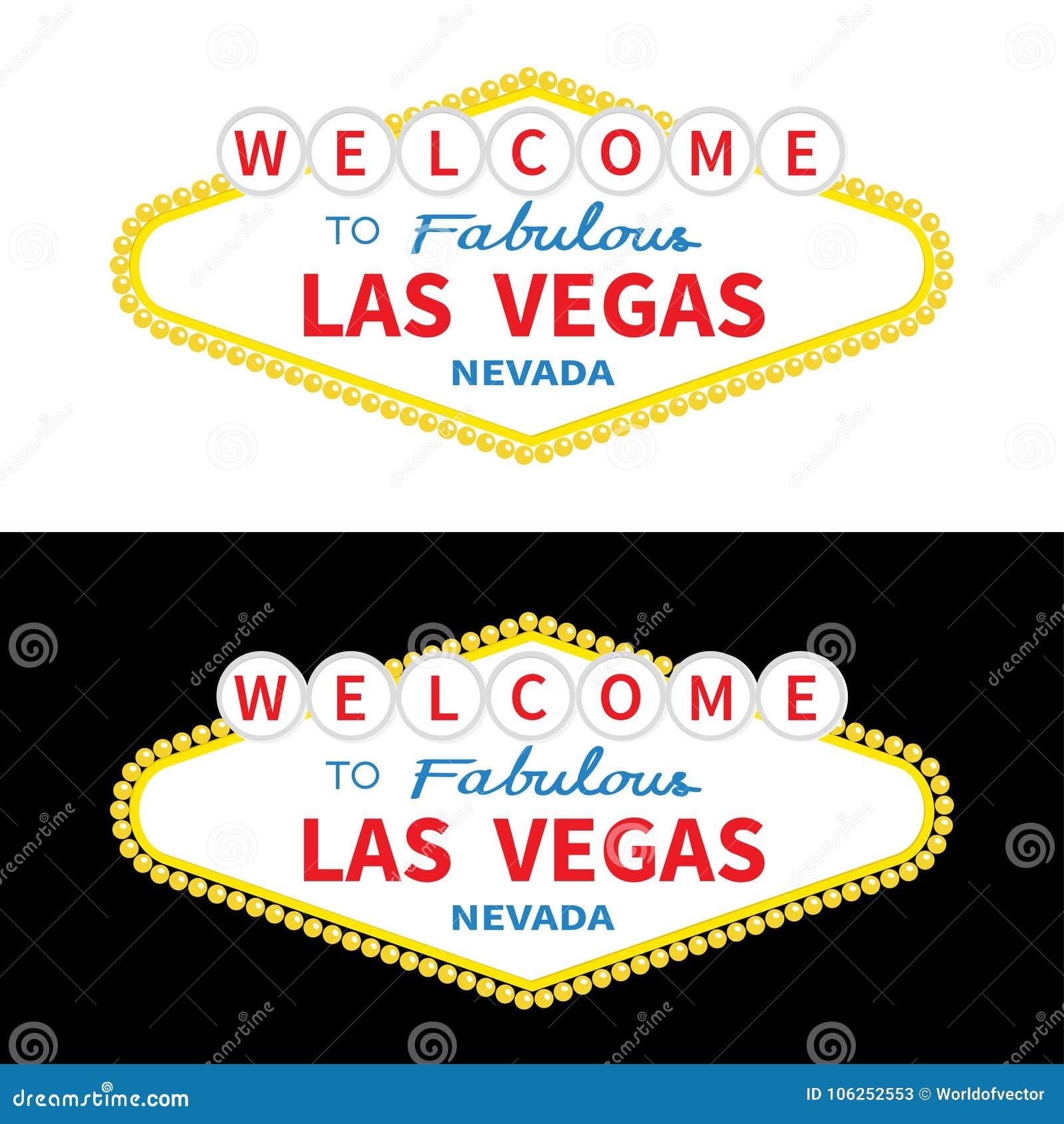 Welcome To Las Vegas Sign Icon Set Classic Retro Symbol Stock