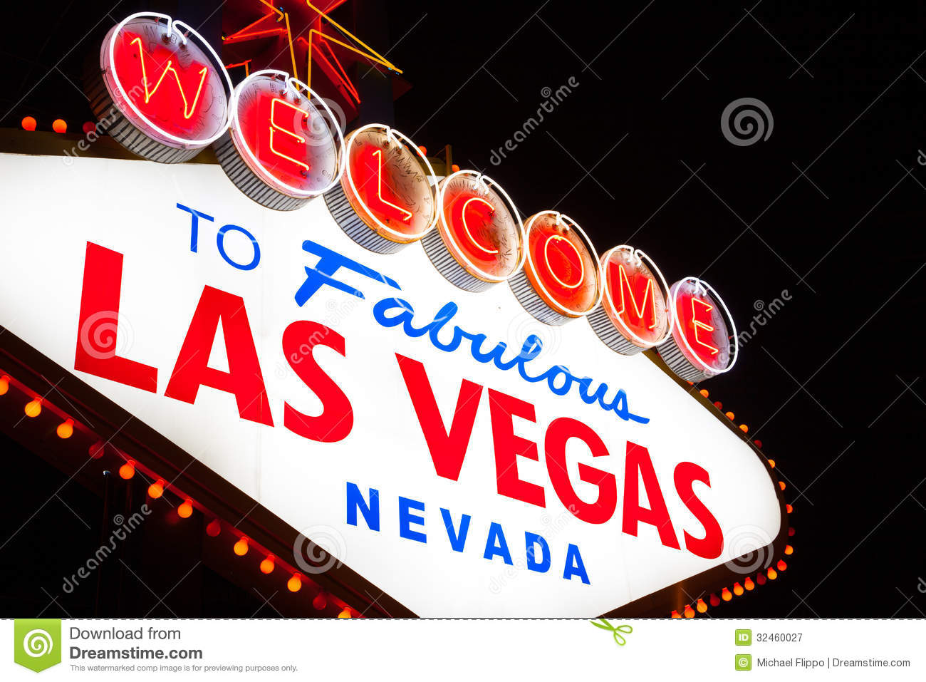 Stock footage welcome to fabulous las vegas sign with flashing lights - Royalty Free Stock Photo Download Welcome To Las Vegas Sign
