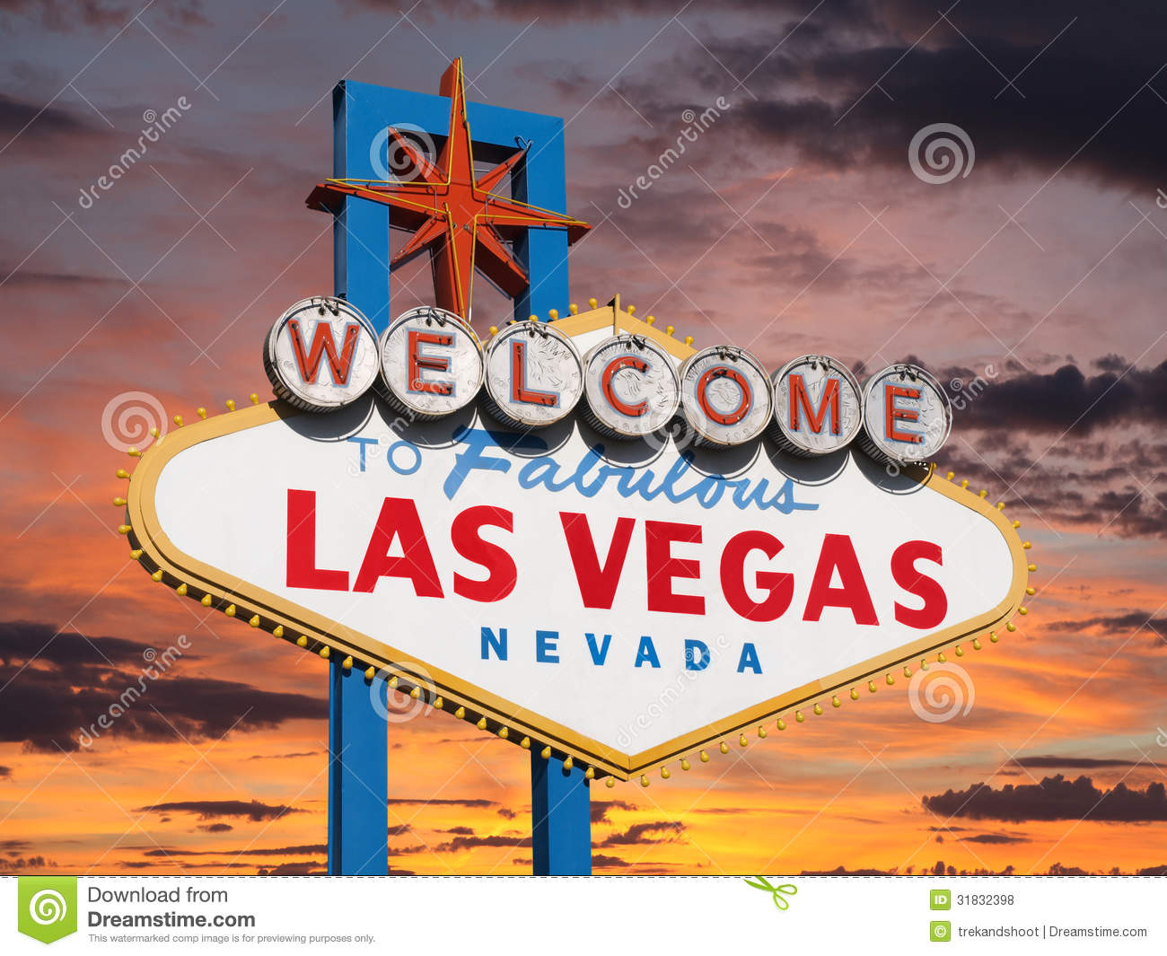 welcome to las vegas sign with sunset sky stock photo image 31832398. Black Bedroom Furniture Sets. Home Design Ideas