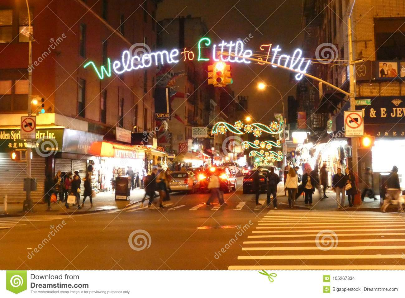 Little Christmas Italy.Welcome To Little Italy Editorial Stock Image Image Of York