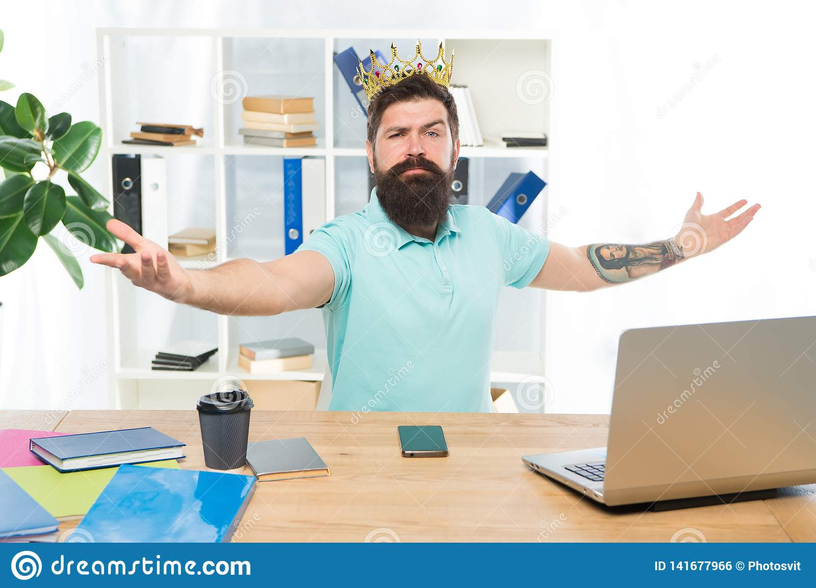 Welcome to my kingdom. King of office. Head of department. Man bearded manager businessman entrepreneur wear crown. Top