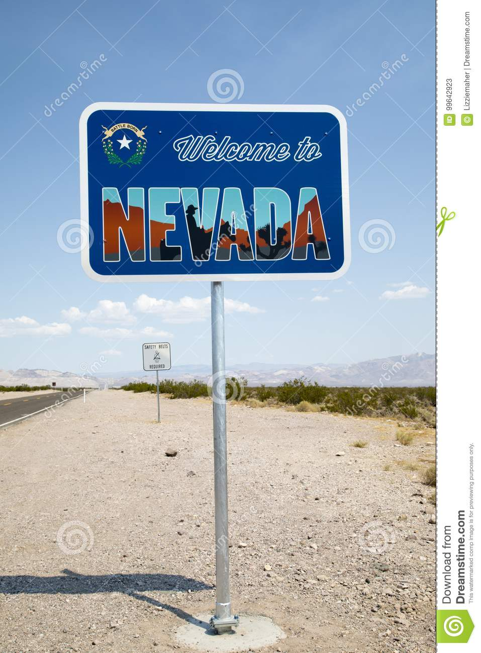 Welcome To Nevada, The Silver State Sign Stock Image