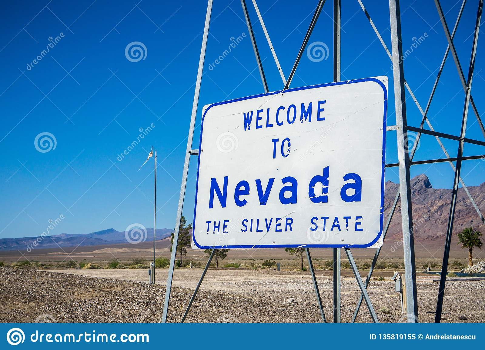 Welcome to Nevada road sign at the state border Stock