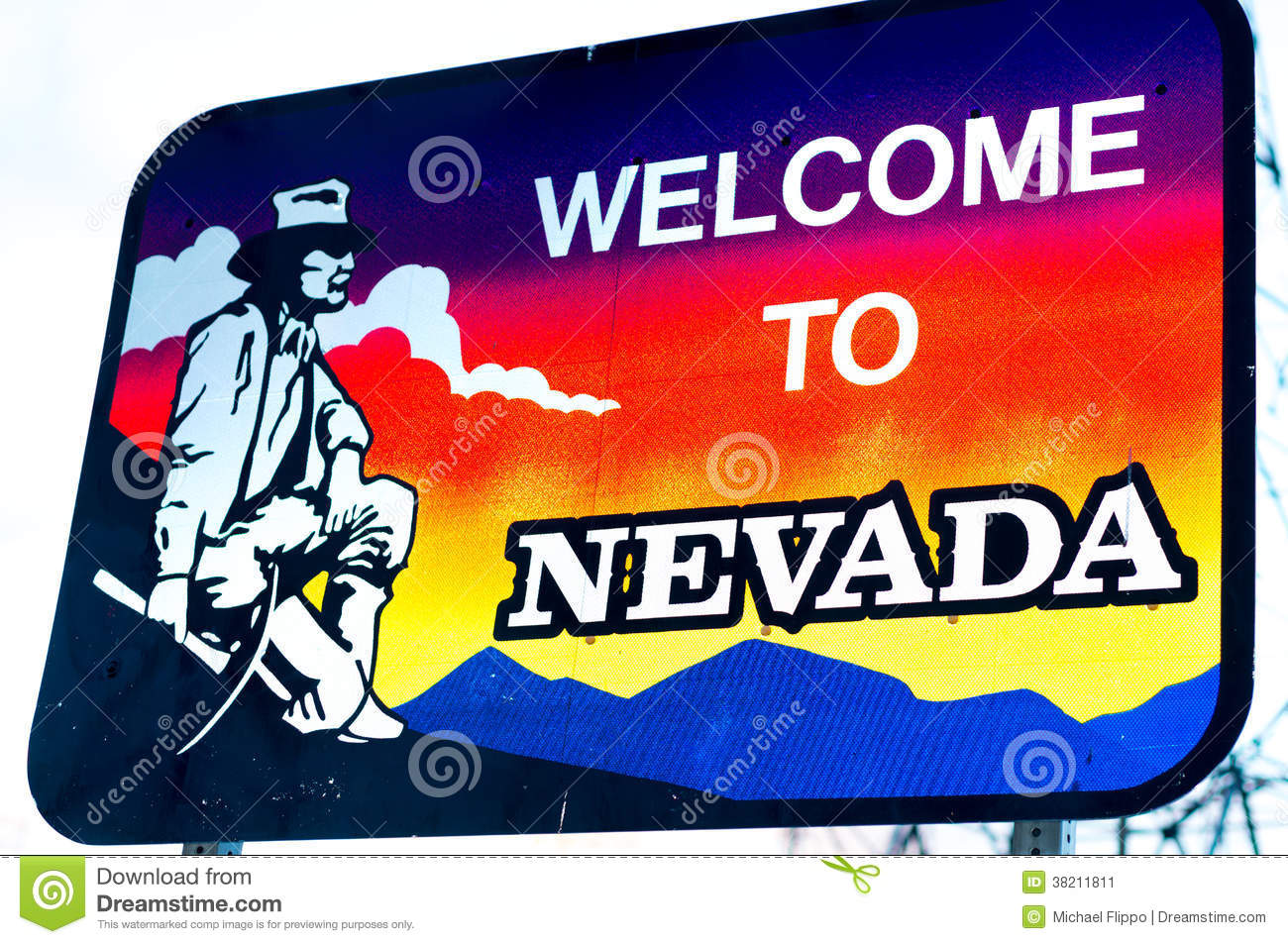 Welcome to Nevada Sign stock image. Image of trans