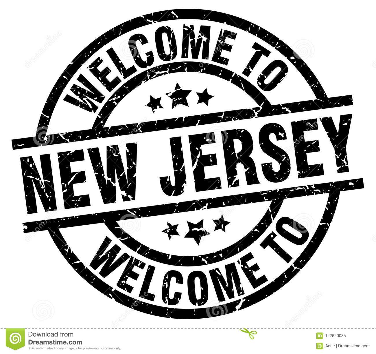 Welcome To New Jersey Round Grunge Stamp Isolated On White Background