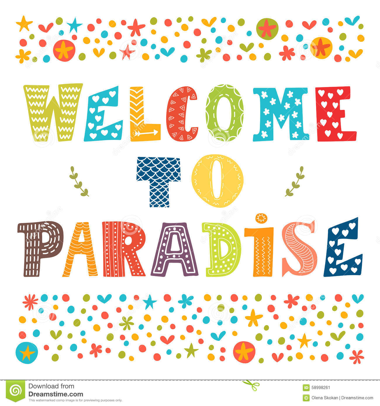 Welcome To Paradise Poster Design. Cute Greeting Card. Stock ...