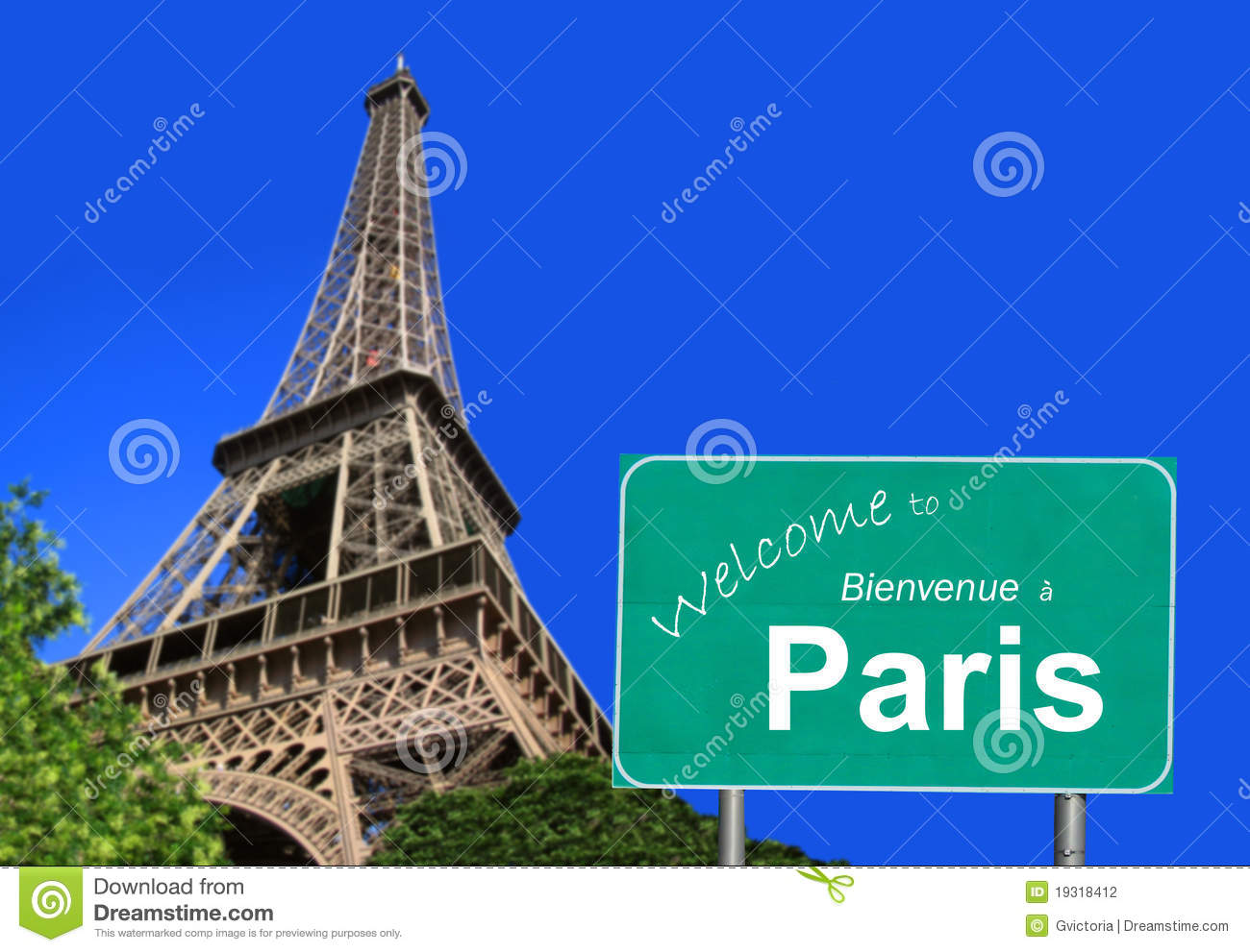 Welcome to Paris sign in English and French with the Eiffel Tower, in ...