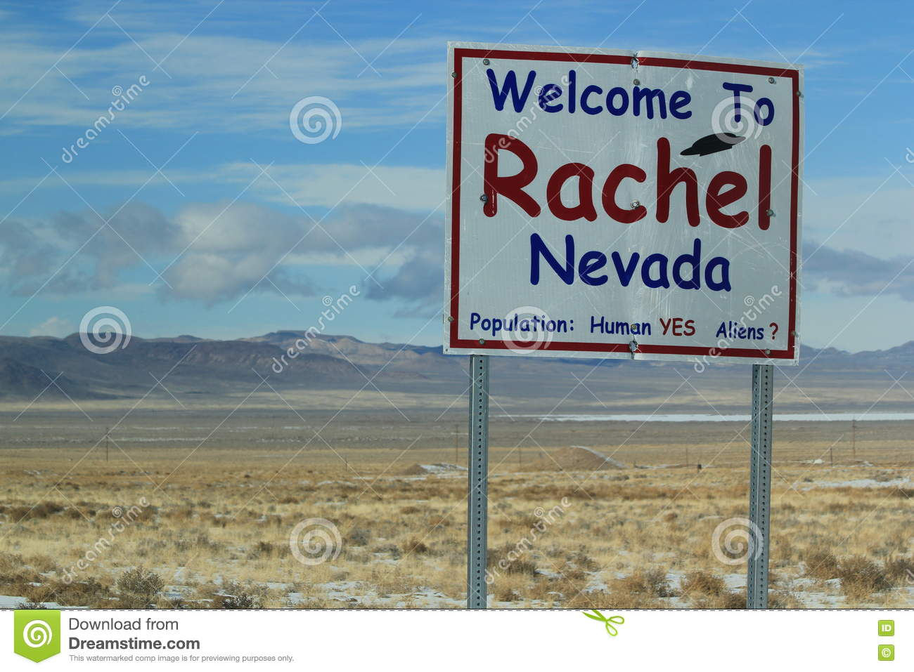Welcome To Rachel Nevada Sign Stock Image - Image of welcome, snow