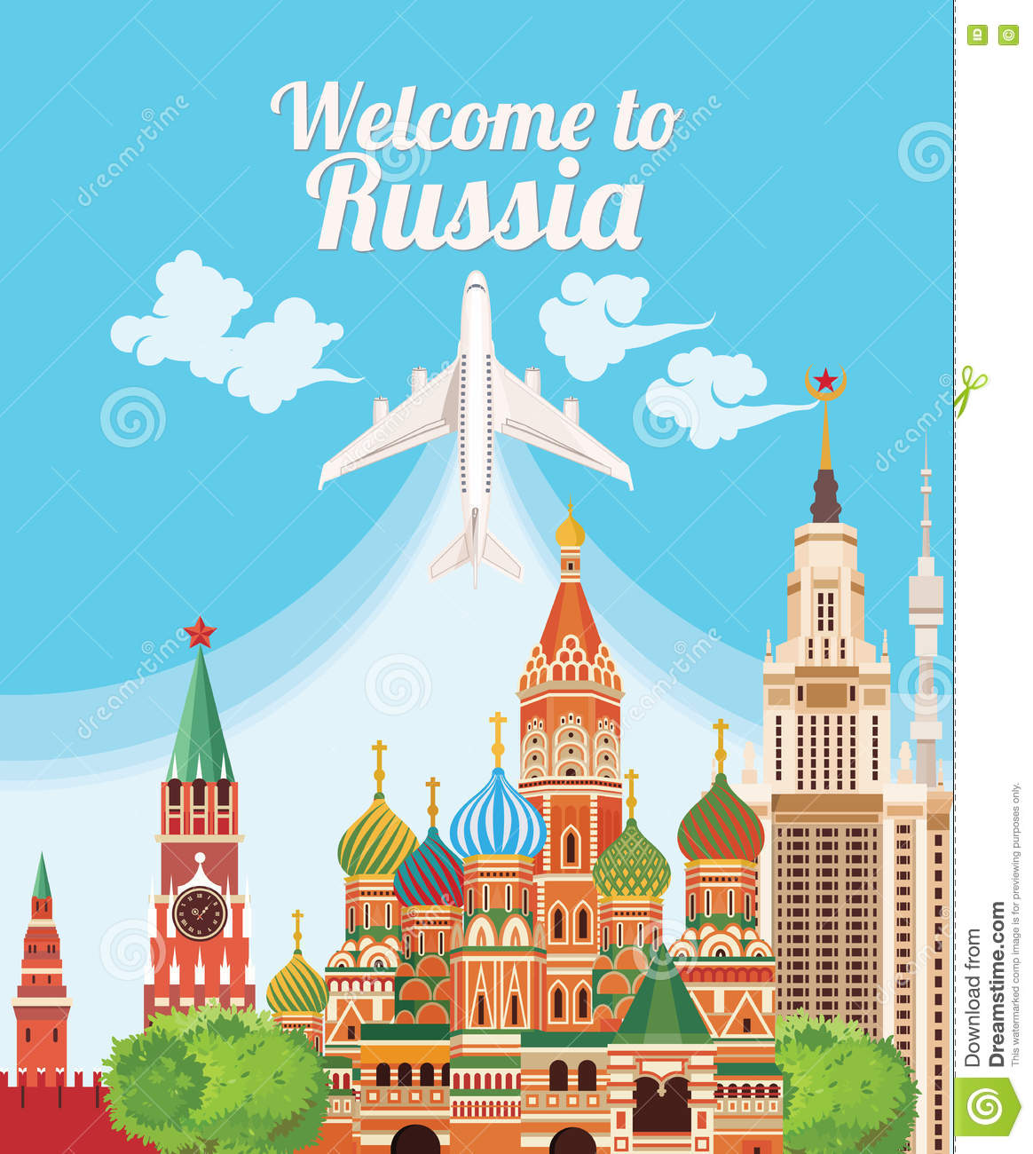 Welcome To Russia. Travel Russian Landmarks. Russian