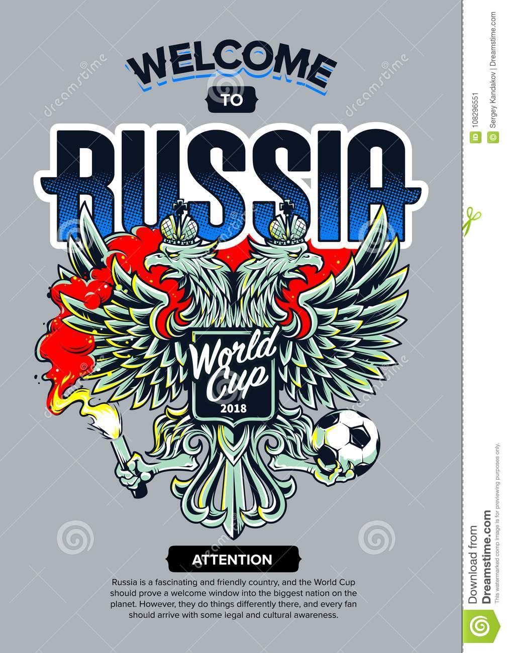 Welcome To Russia Art Stock Vector Illustration Of Coat 108296551