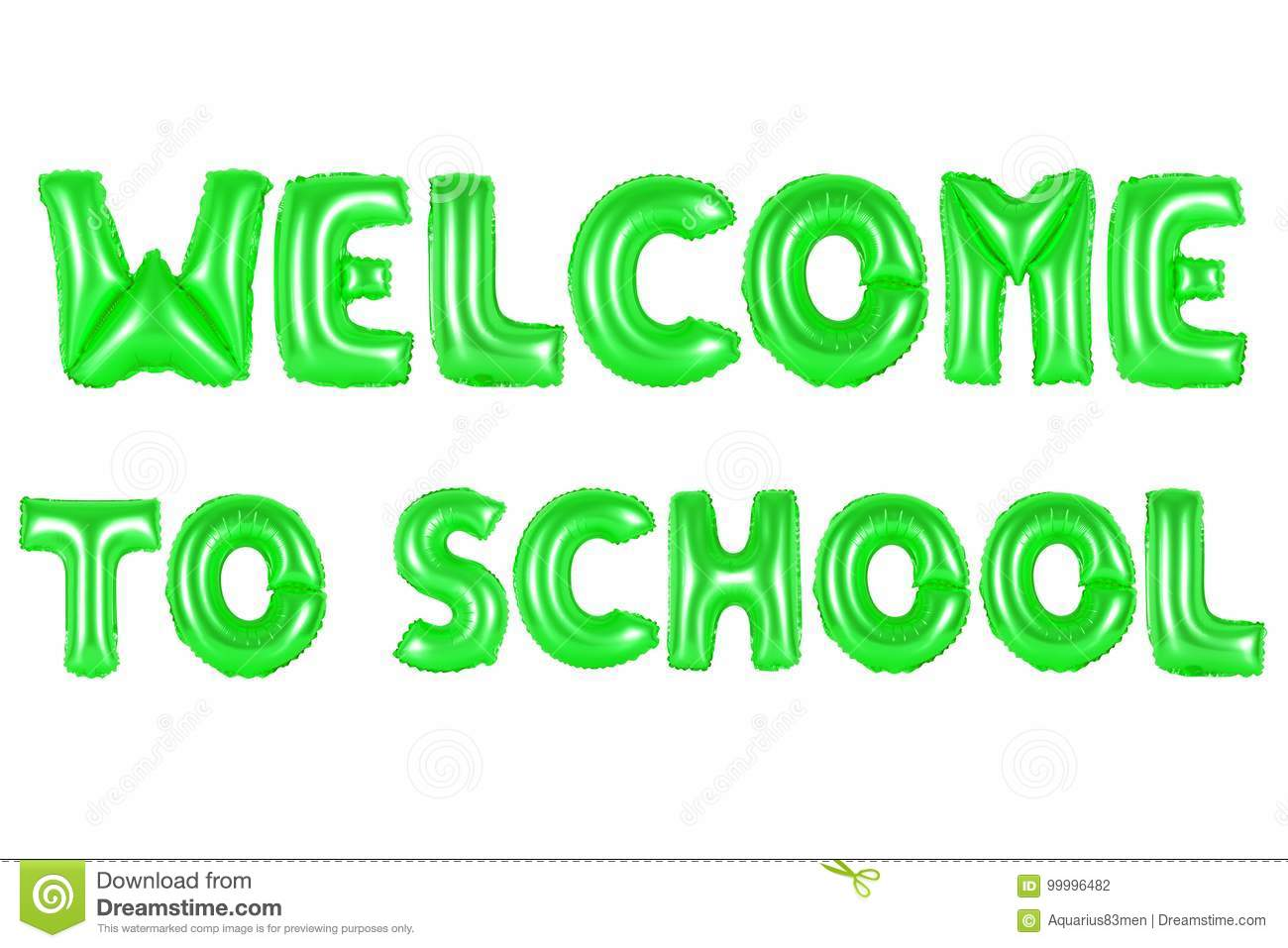 Welcome To School, Green Color Stock Photo - Image of background ...