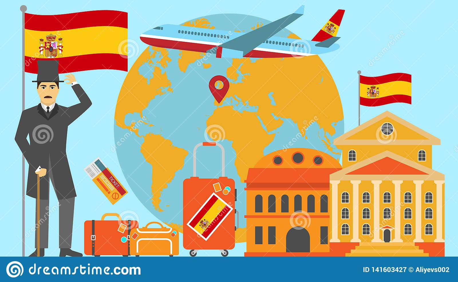 Welcome to Spain postcard. Travel and safari concept of Europe world map vector illustration with national flag