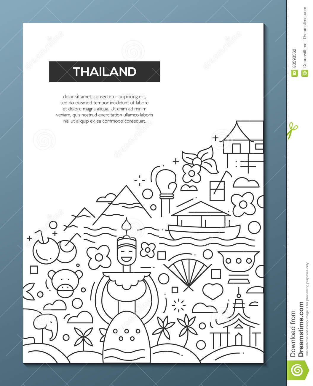 Welcome To Thailand - Line Design Brochure Poster Template A4 Stock