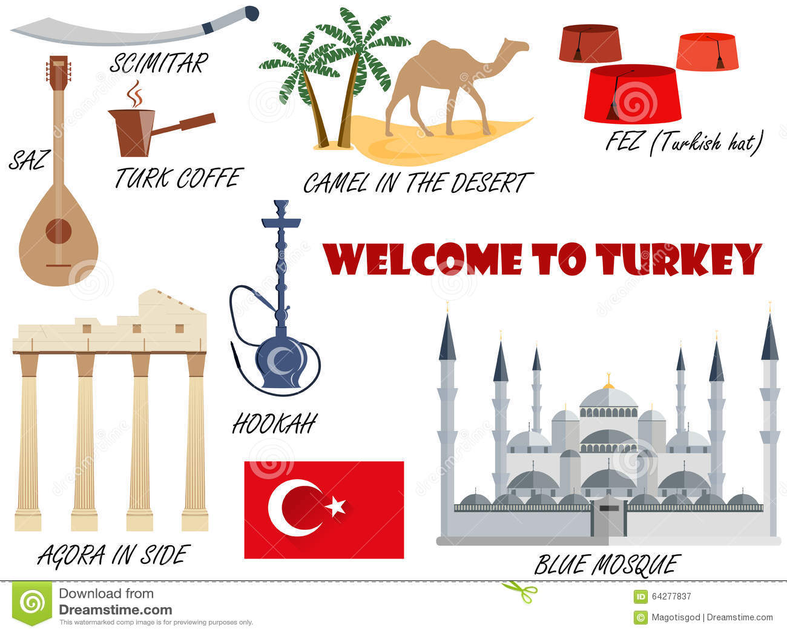 Welcome to turkey symbols of turkey set of icons vector stock welcome to turkey symbols of turkey set of icons vector biocorpaavc Gallery