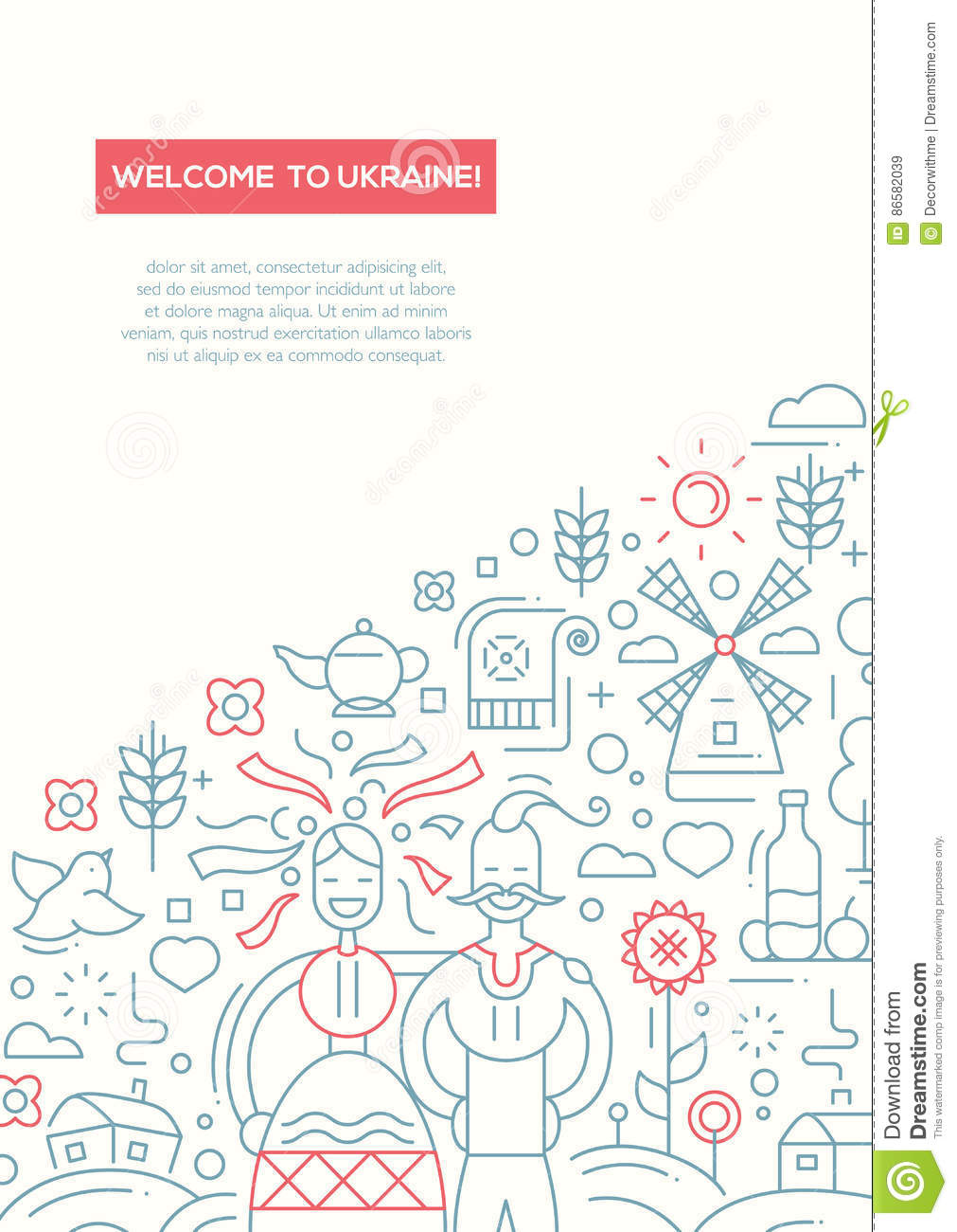 welcome to ukraine line design brochure poster template a4 stock
