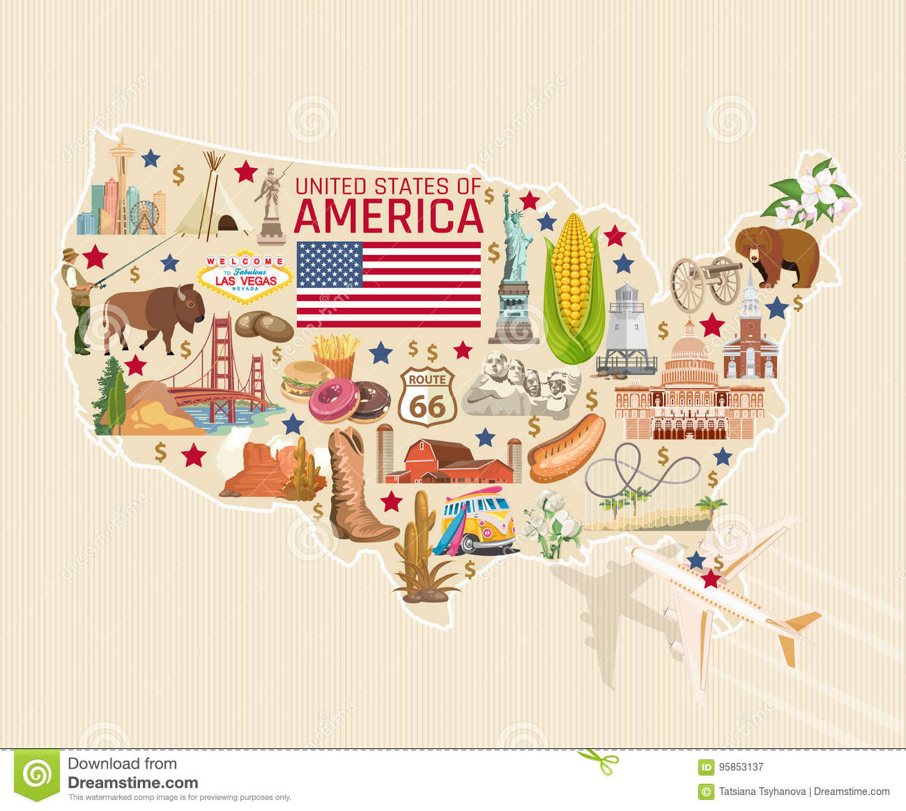 Welcome To USA Detailed Card. United States Of America ...