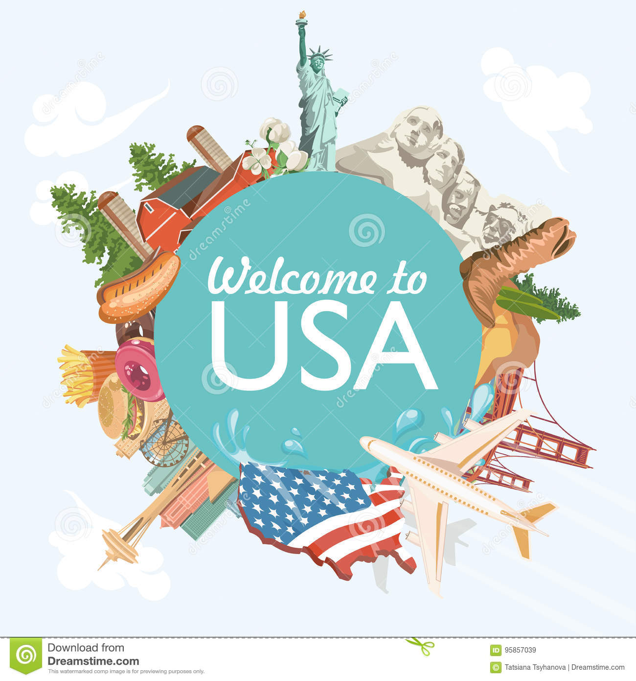 Welcome to usa united states of america greeting card with circle download welcome to usa united states of america greeting card with circle shape vector m4hsunfo