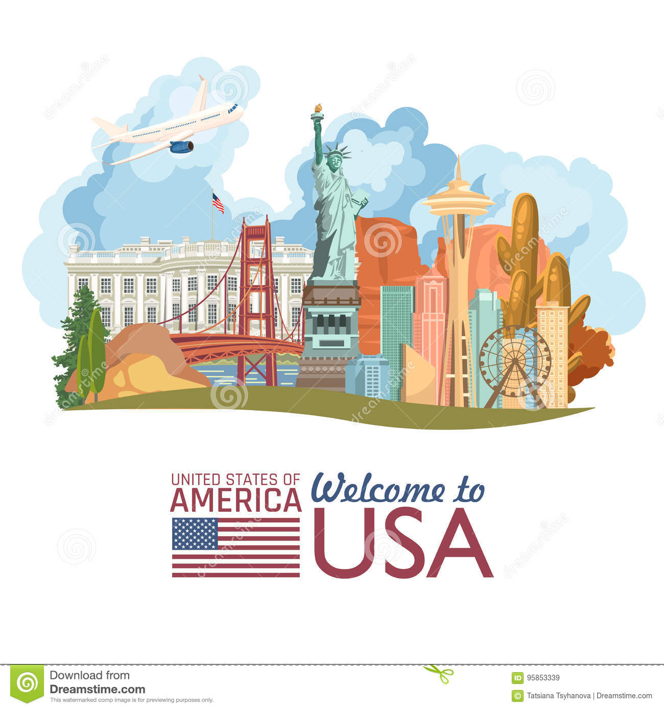 welcome to usa united states of america poster with Washington Monument Cartoon washington monument clipart free