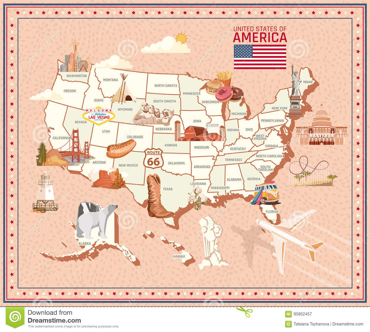 Welcome To USA. United States Of America Poster With Statue ... on mexico map illustration, earth map illustration, italy map illustration, car illustration, africa map illustration, teacher illustration, typist illustration, vector illustration, world map illustration, canada map illustration,