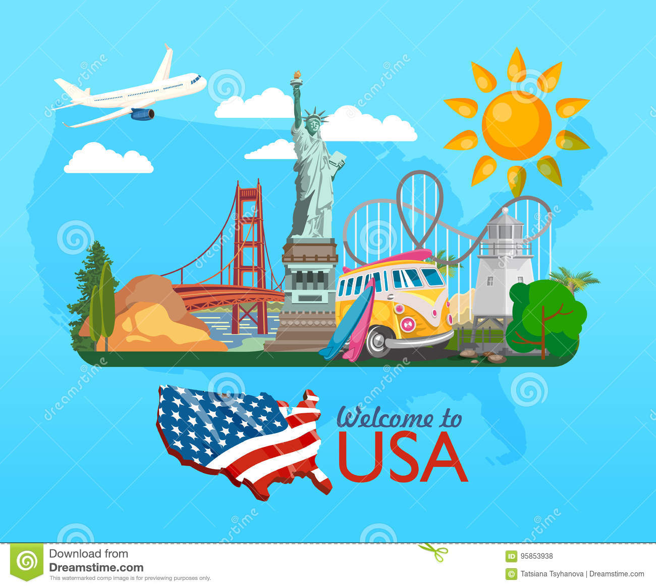Traveling To The United States: Welcome To USA. United States Of America Poster With