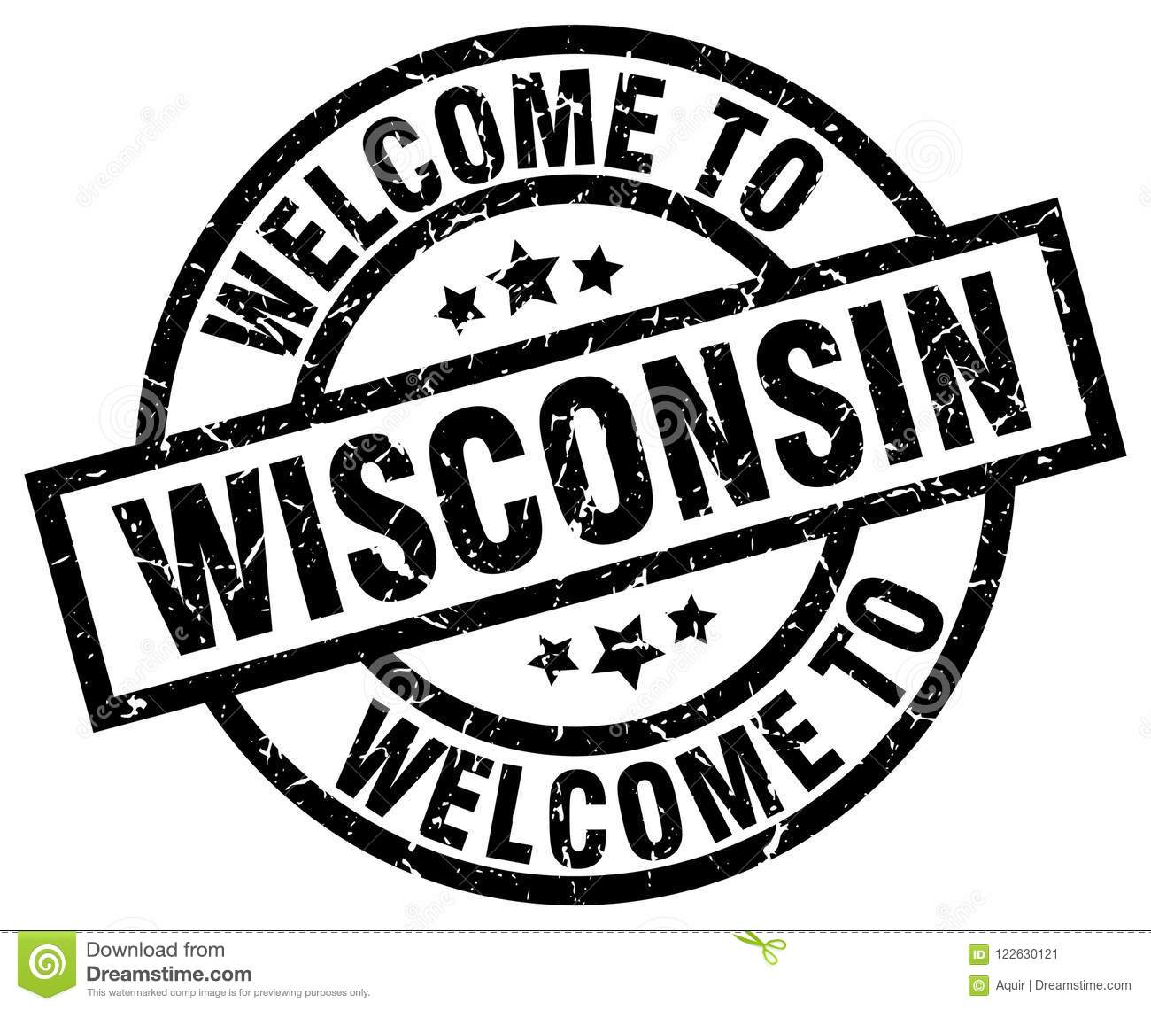 Welcome To Wisconsin Round Grunge Stamp Isolated On White Background