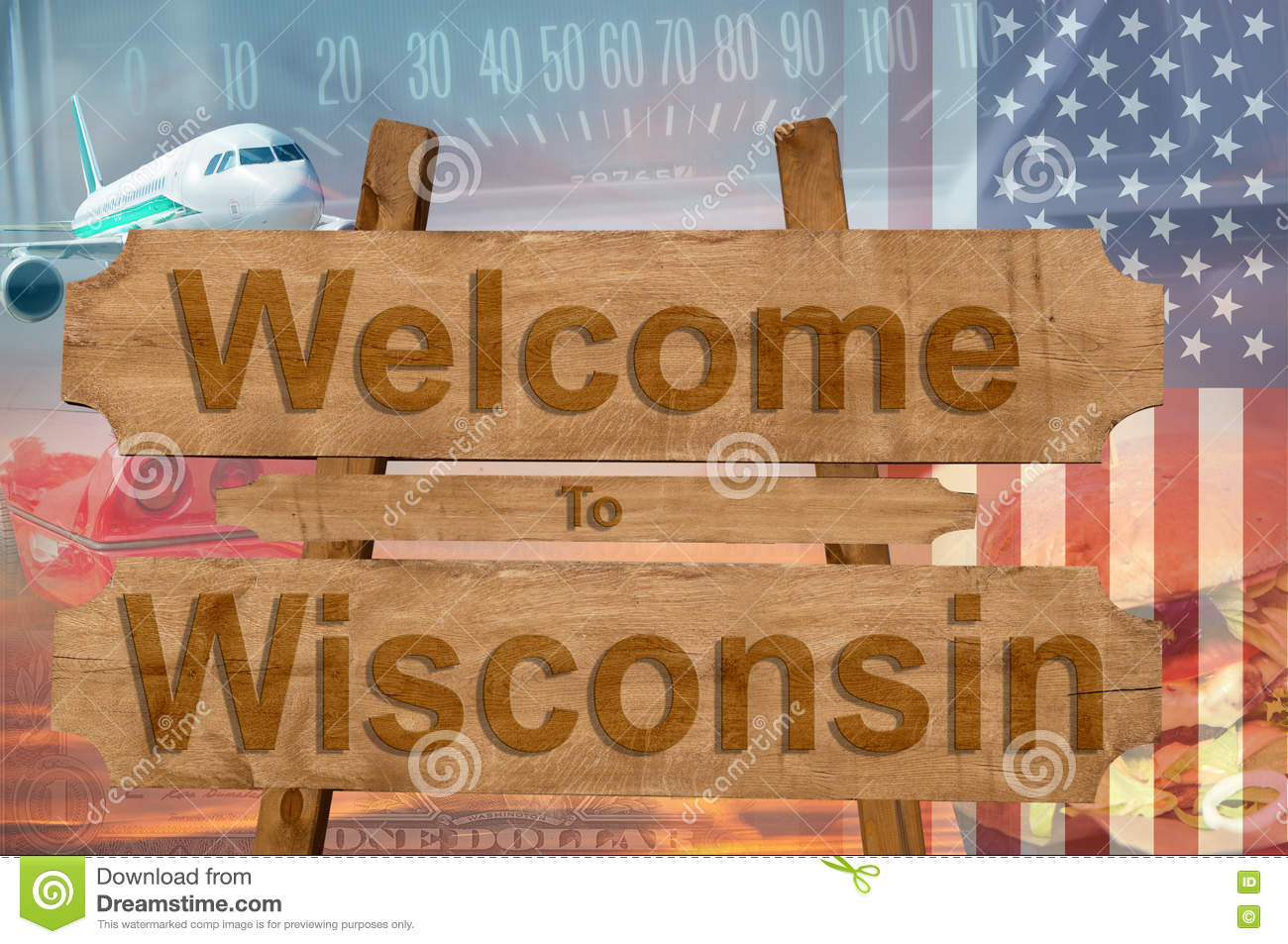 Welcome to Wisconsin state in USA sign on wood, travell theme