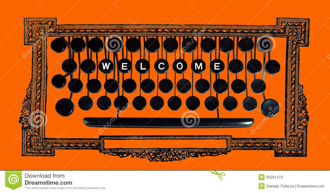 welcome on vintage keyboard stock photos image 35281473