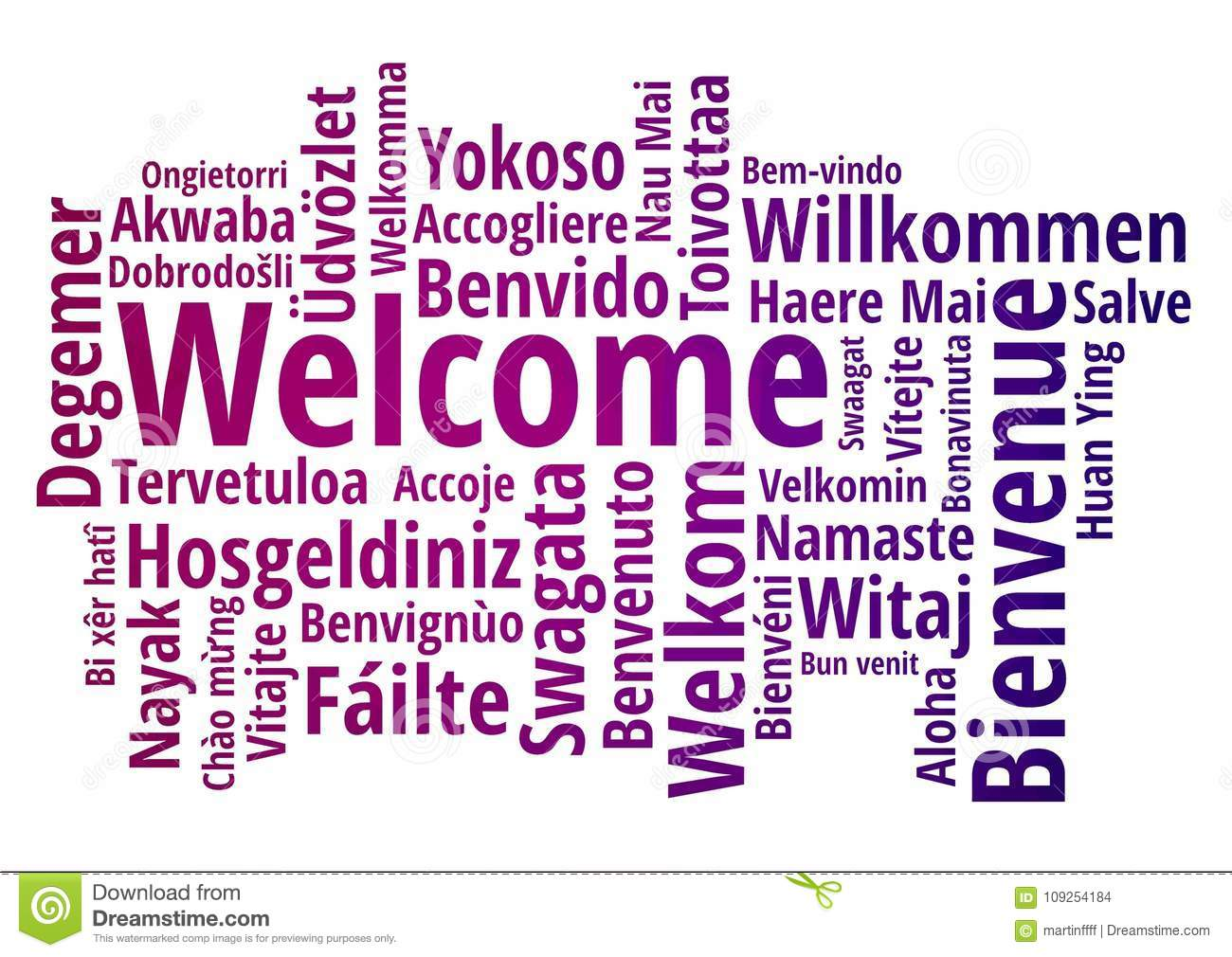 Welcome Word Cloud In Different Languages Concept Background Stock
