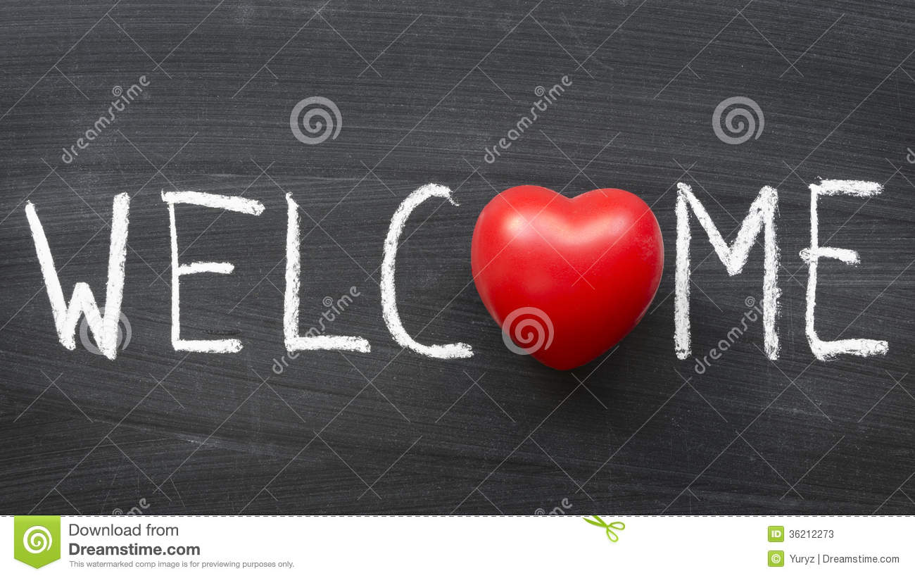 Welcome symbol stock images 8191 photos welcome word handwritten on blackboard with heart symbol instead o stock photos biocorpaavc Gallery