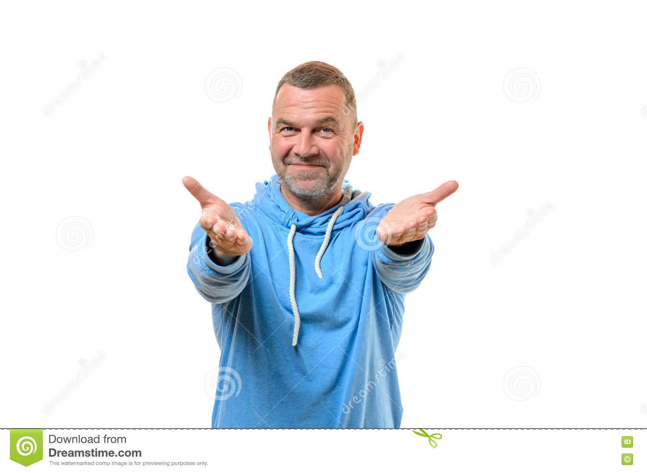 Welcoming Friendly Middle-aged Man Stock Photo - Image: 71675482