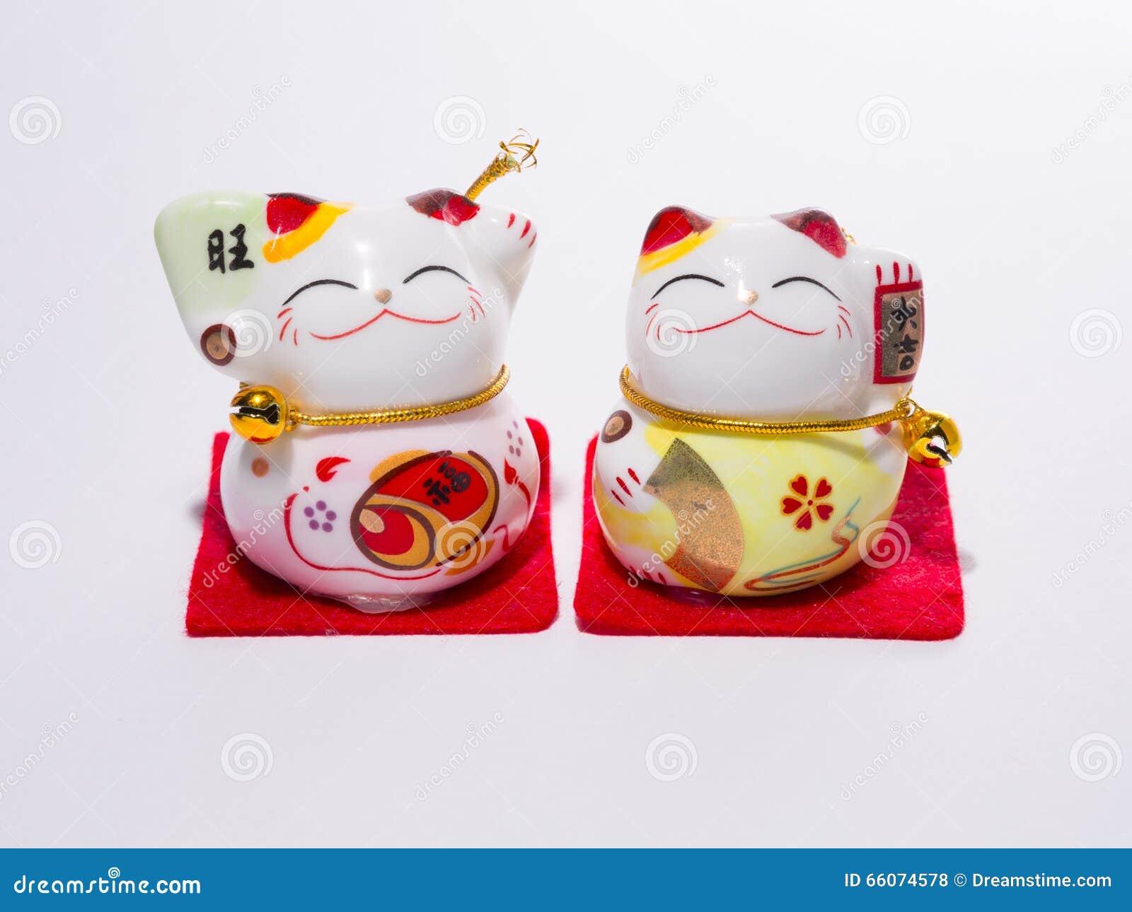 Welcoming The Japanese Lucky Cat The Maneki Neko Stock Photo