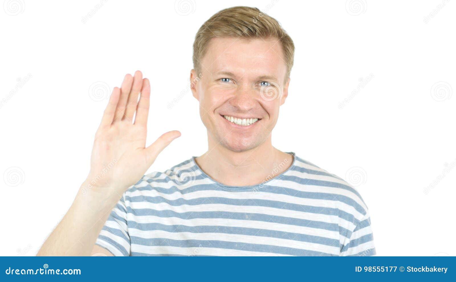 Welcoming, Man Saying Hi, Waving Hand In Air, Hello Stock ...